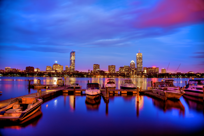 HDR of Boston skyline on the Charles River