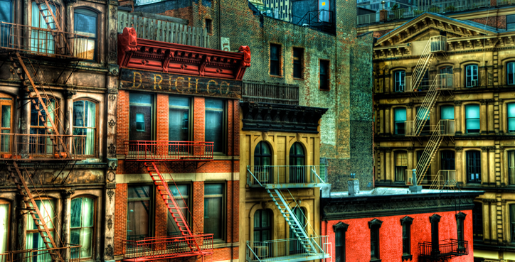 Historical Tribeca Buildings in New York City on Church St with D. Rich Co building