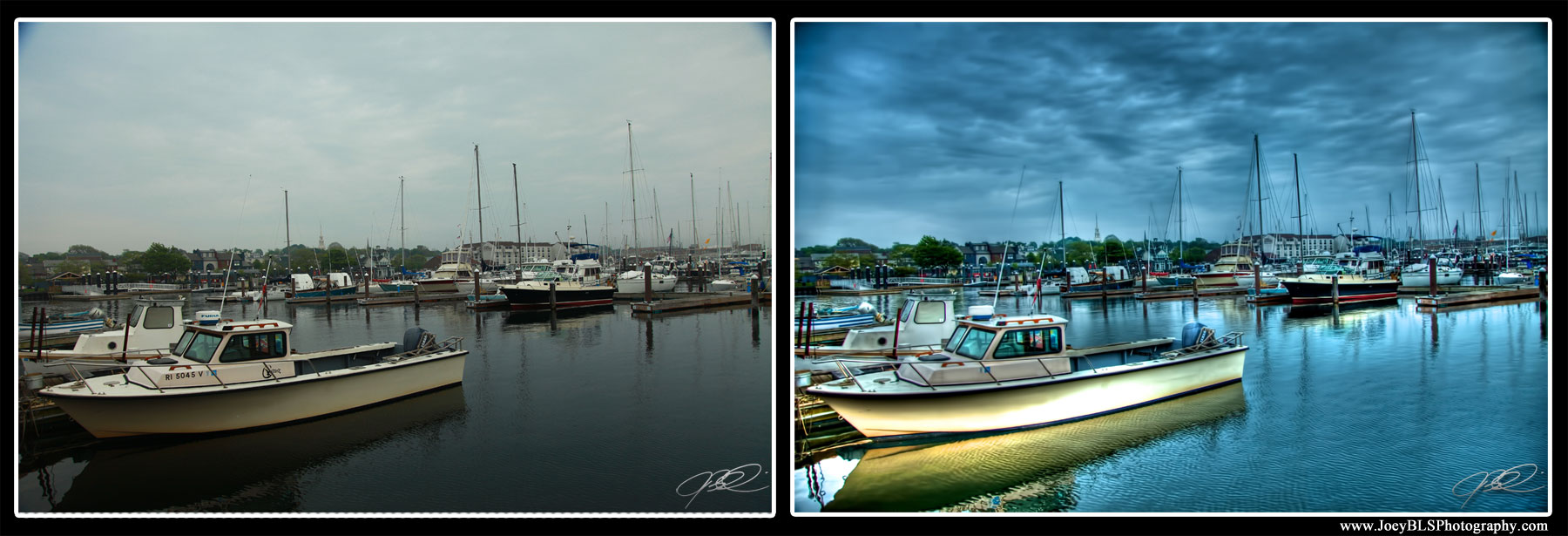 HDR Before and After of Newport, RI Boats in the Harbor