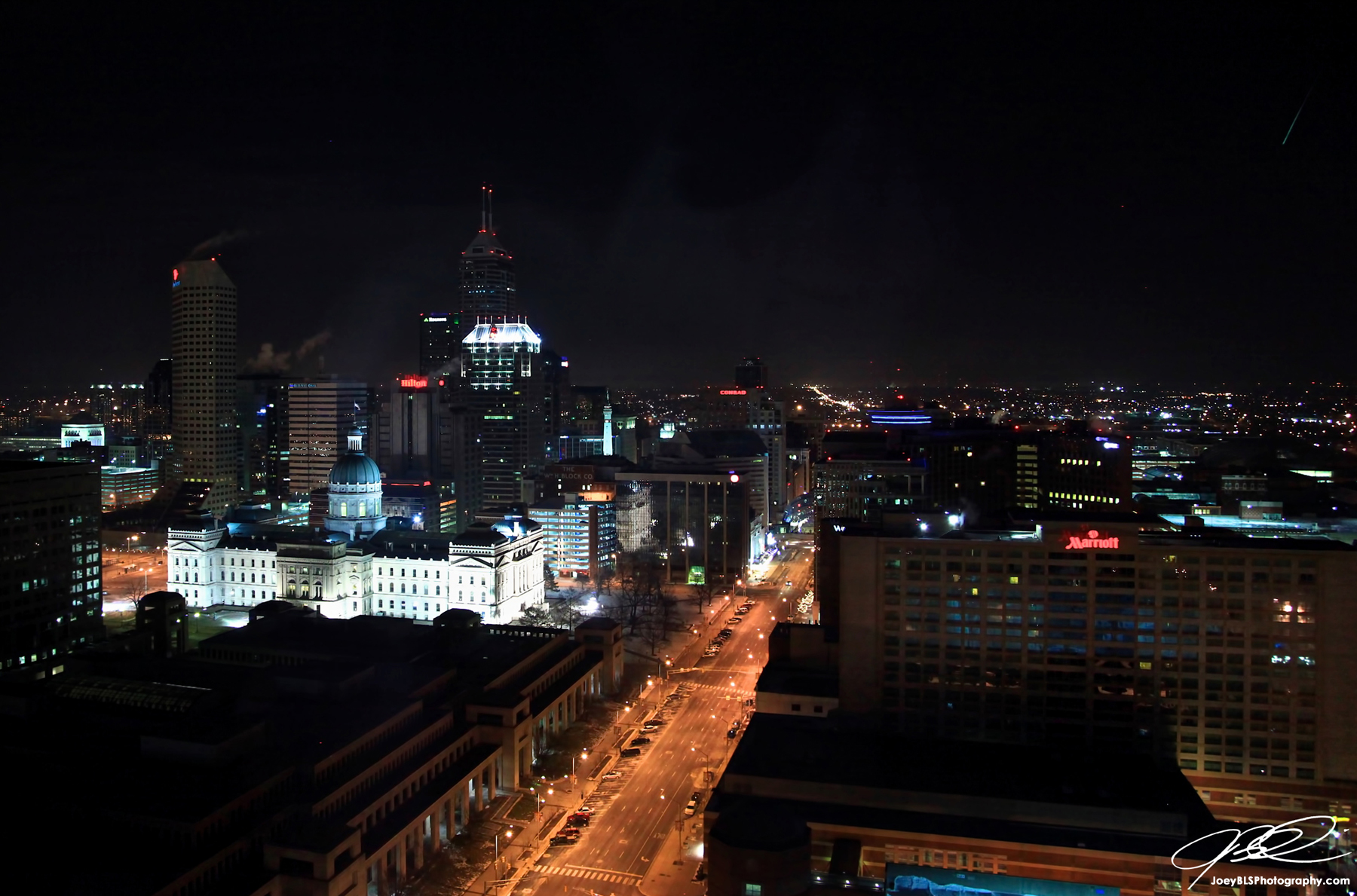Indianapolis Skyline at Night with Shooting Star taken from JW Marriott Hotel
