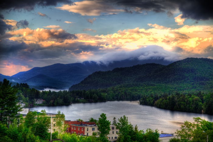 Sunset over Mirror Lake in Lake Placid, NY.