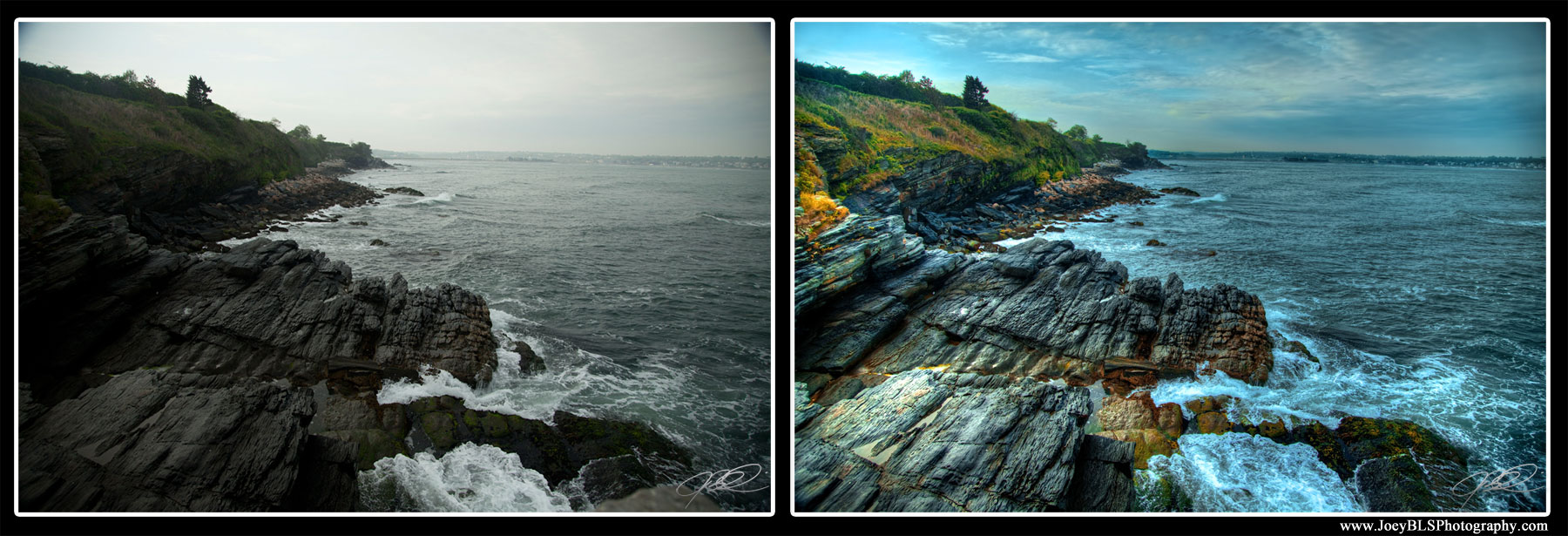 HDR Before and After of Rocks along Ocean Avenue in Newport, RI
