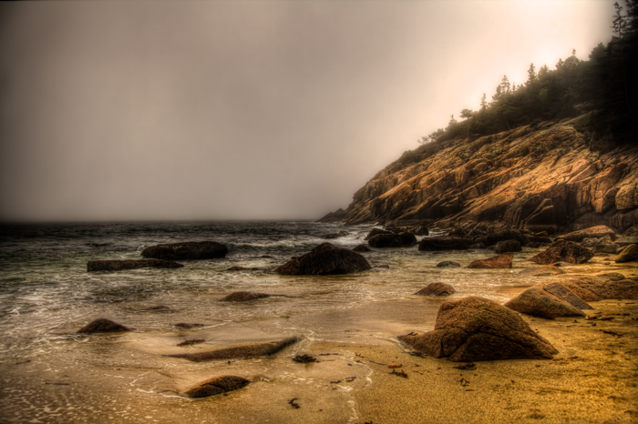A foggy beach in Acadia National Park near Bar Harbor, Maine.