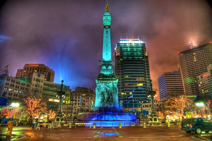 Monument Circle in Indianapolis Vibrantly Lit Up for Super Bowl XLVI.