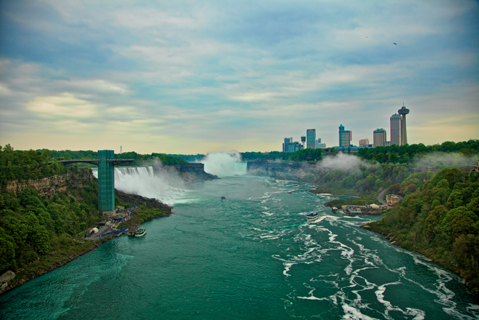 Niagara Falls as seen from the Rainbow Bridge.