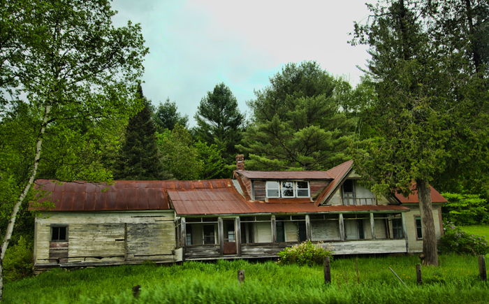 Old house near Sabin Pond on State Road 14 in South Woodbury, Vermont.