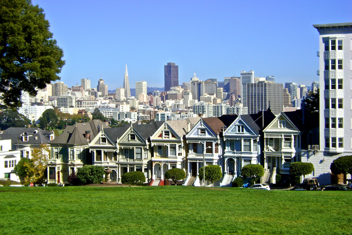 The Painted Ladies Victorian Houses Of San Francisco California