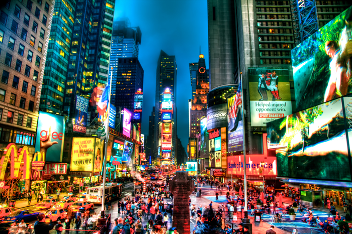 HDR photo of an evening in Times Square, New York City