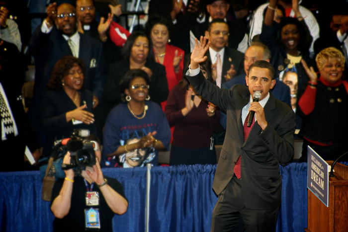 Senator Barack Obama visits Roosevelt HS in Gary, Indiana as he pays a visit to Northwest Indiana in April 2008.