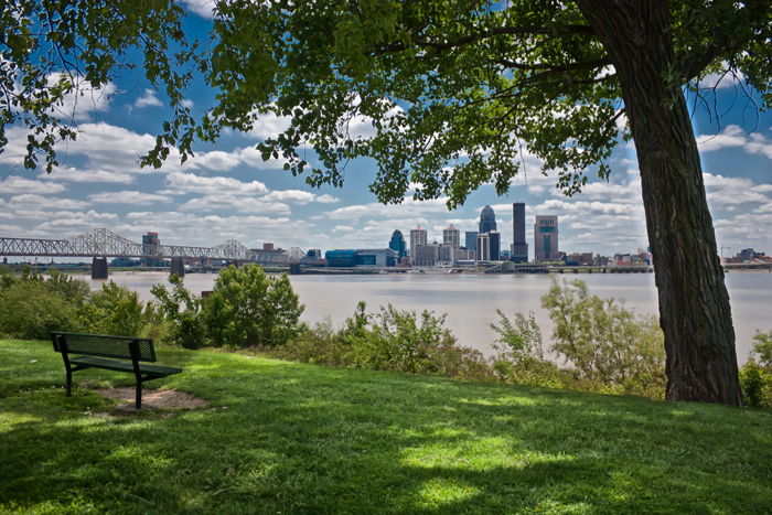 The Louisville skyline from Falls of the Ohio State Park in Indiana.