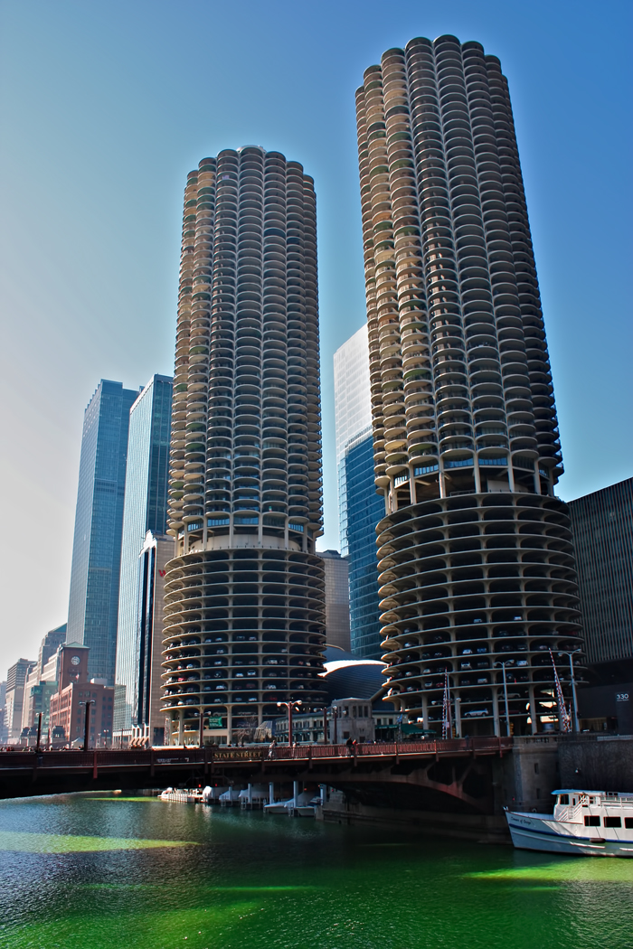 The Marina Towers overlooking a green Chicago River