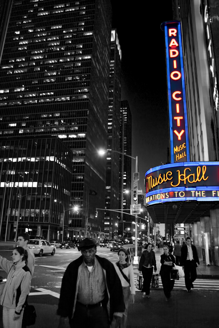 Radio City Music Hall in New York City (with color spotting)