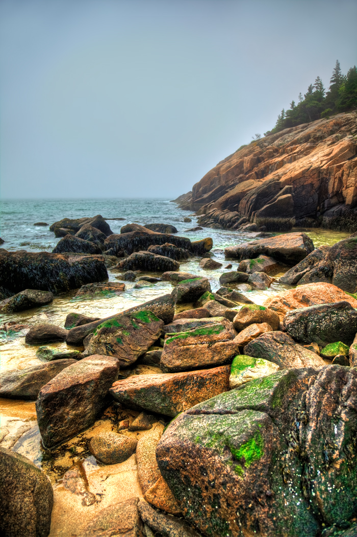 The rocks along the shore at Acadia National Park near Bar Harbor, Maine.