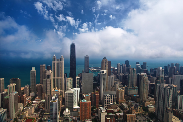 Aerial photograph of downtown Chicago over the north loop of Chicago.