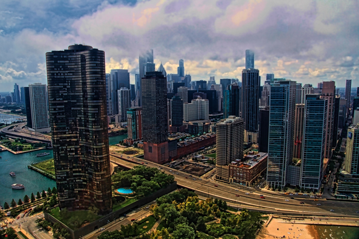 Aerial photo of Lake Point Tower in Chicago, Illinois.