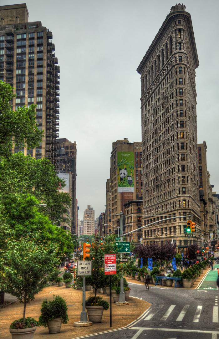 The Flatiron Building in NYC in the Flatiron District neighborhood.