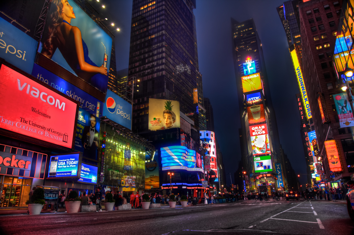 HDR photo of Times Square in New York City