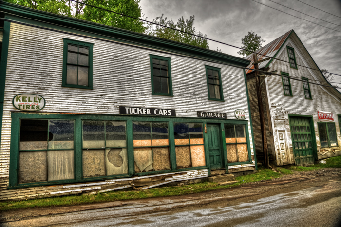 Closed Business of Tucker Cars Garage in Hardwick, Vermont
