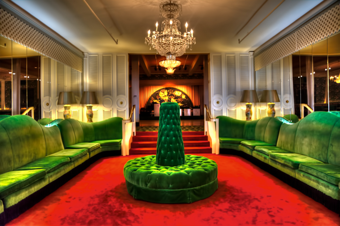 Green Velvet Couches at the Grand Hotel, Mackinac Island