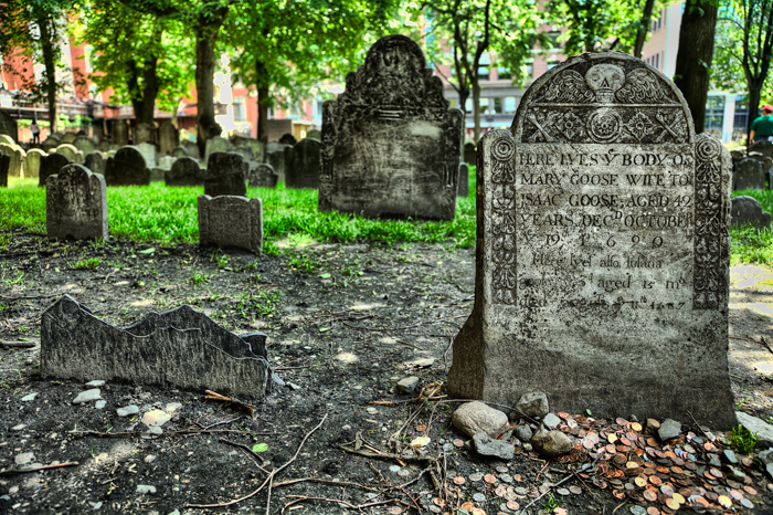 Mother Goose's Headstone in Boston Granary Burial Grounds
