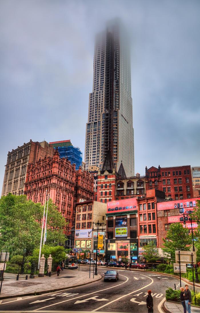 New York City Buildings along Park Row in Lower Manhattan.