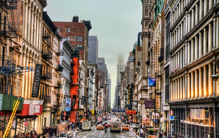 The Shopping district in Soho, New York City.