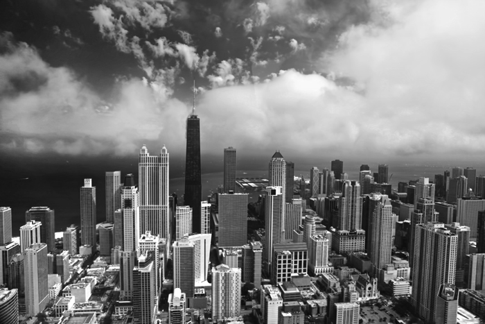 Aerial B/W photograph of downtown Chicago over the north loop of Chicago.
