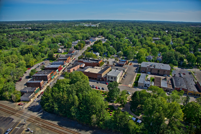 Aerial photo of downtown Chesterton, Indiana.