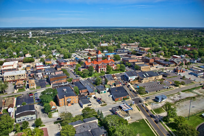 Aerial photo of Downtown Crown Point, Indiana and US 231