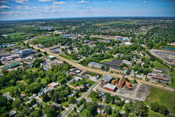 Aerial photo of downtown Dyer, Indiana