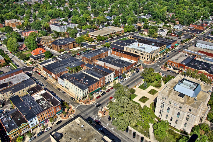 Aerial photo of Downtown Valparaiso, Indiana over E. Lincolnway