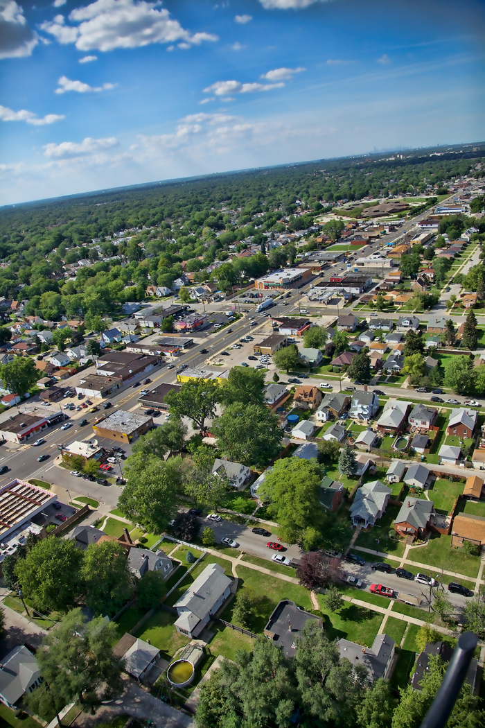 Aerial photo of Hammond, Indiana over Calumet Avenue