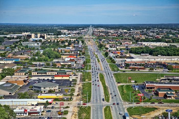 Aerial photo of Merrillville, Indiana over US 30 facing east towards I-65.