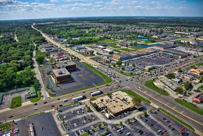 Aerial photo of Schererville, Indiana at US 30 and US 41.