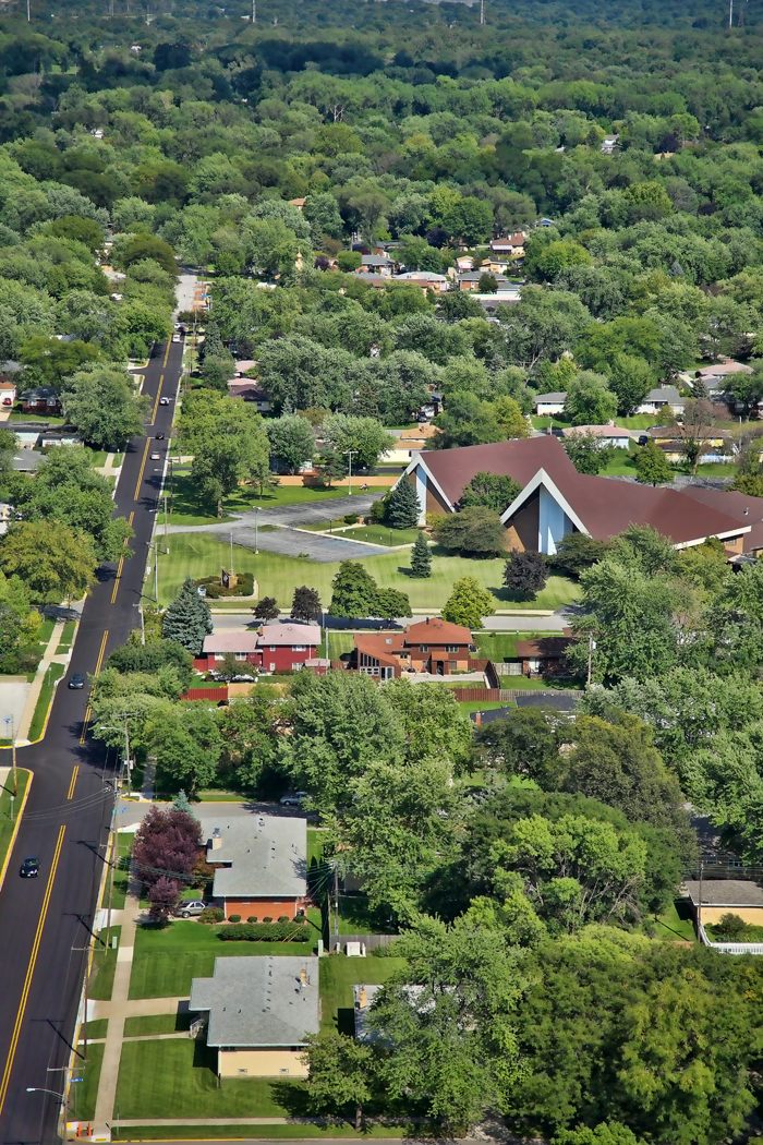 Aerial photo of South Side Christian Church in Munster, Indiana