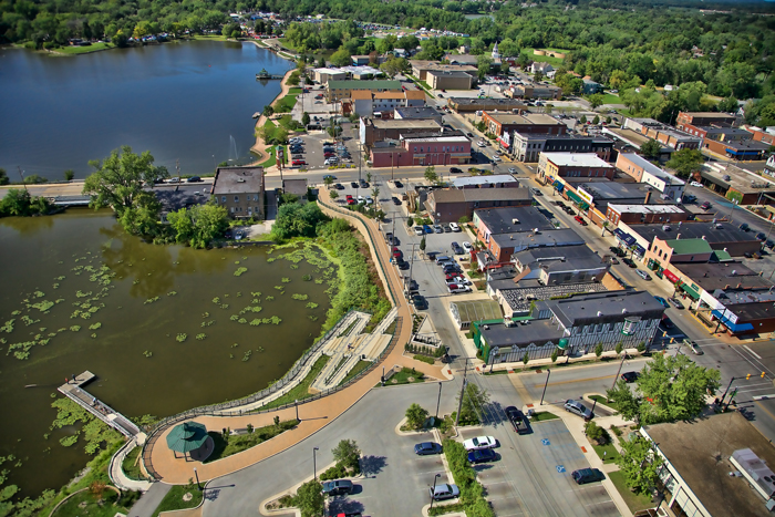 Aerial photo of downtown Hobart, Indiana in Northwest Indiana.