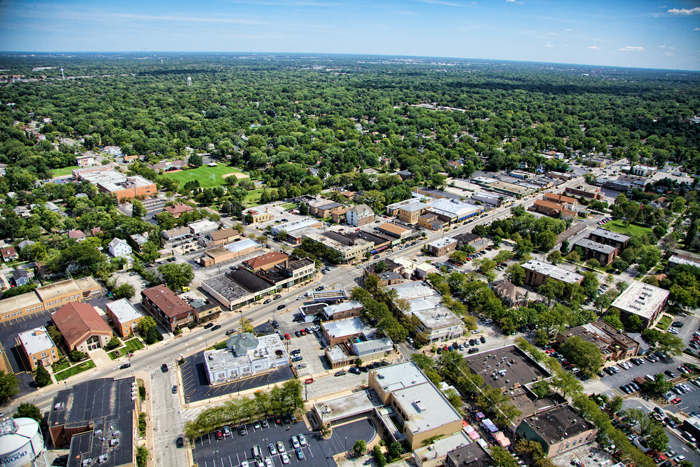 Aerial photo of downtown Homewood, Illinois at Dixie Hwy