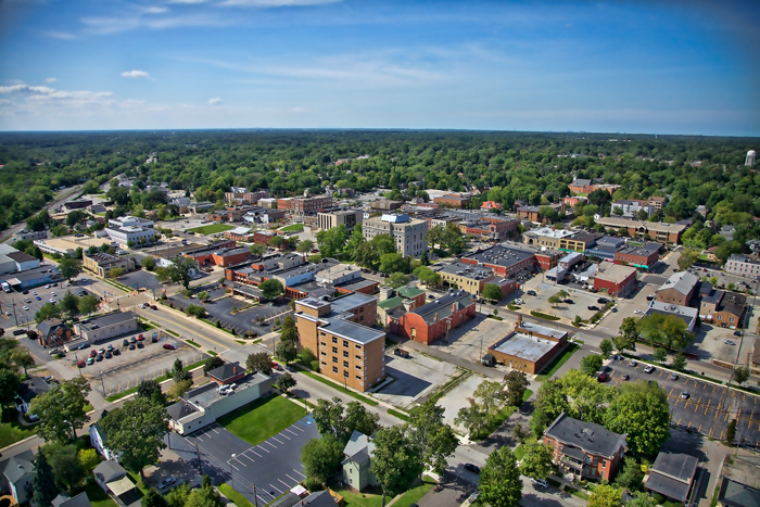 Aerial photo of downtown Valparaiso, Indiana in Northwest Indiana.