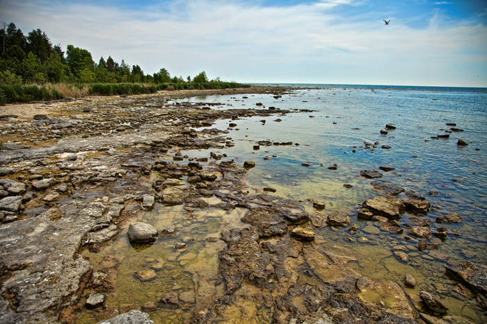 The rocky shore at Toft Point State Park in Door County, Wisconsin near Baileys Harbor.