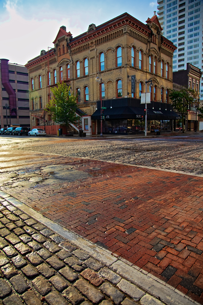 Downtown Milwaukee, Wisconsin intersection of Highland Ave and 3rd Street near Wisconsin Cheese Mart