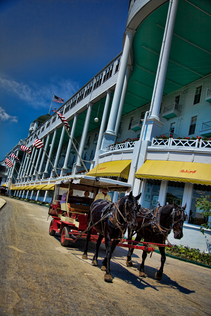 A horse carriage at the historic Grand Hotel on Mackinac Island.