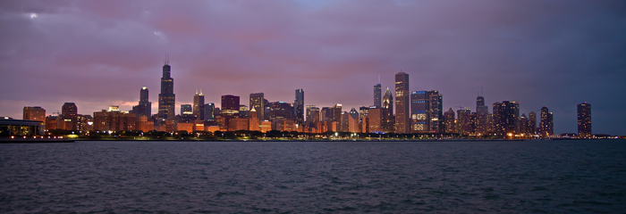 The Chicago skyline seen from the Adler Planetarium across Lake Michigan.