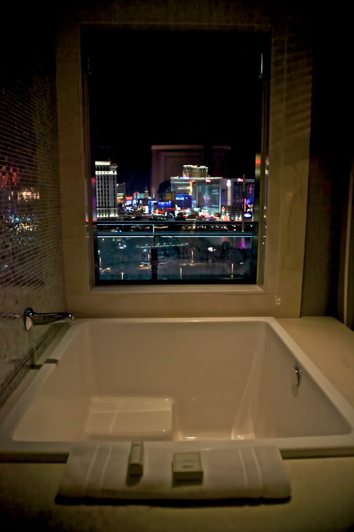 The view from the bathroom in the Cosmopolitan Hotel in Las Vegas