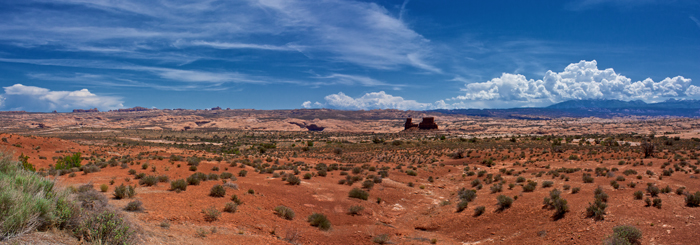 Panoramic of Utah Landscape in Arches National Park