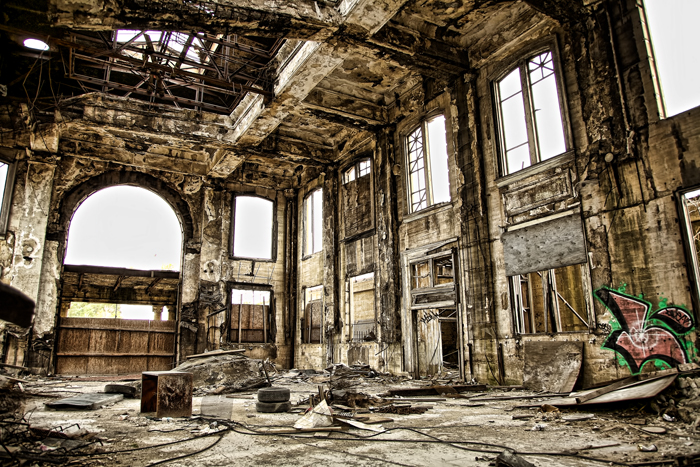 Old, abandoned train station in Gary, Indiana