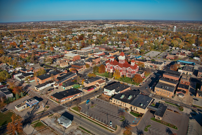 Aerial fall photo of downtown Crown Point, Indiana