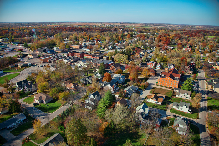 Aerial photo of downtown Lowell, Indiana.