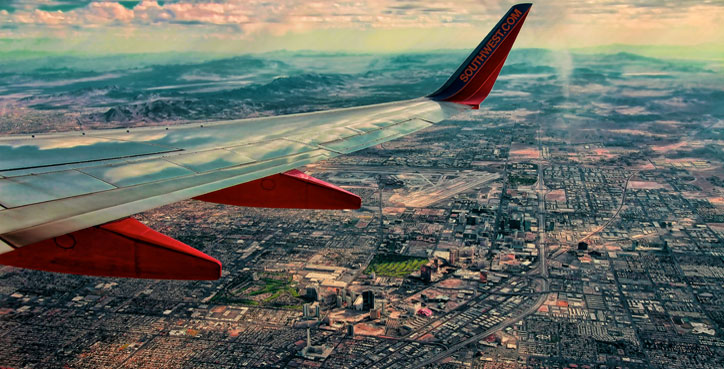 Aerial photo of Las Vegas from Southwest Flight