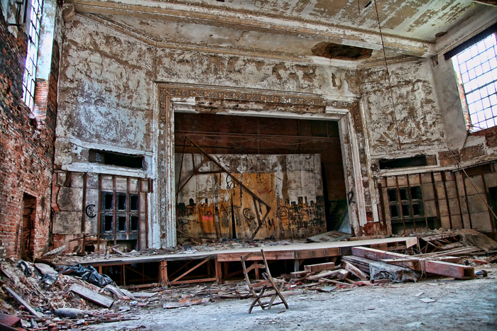 Old, abandoned theater stage at the City Methodist Church in Gary, Indiana.