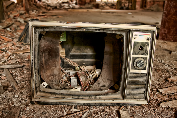 Old, Broken Television Set